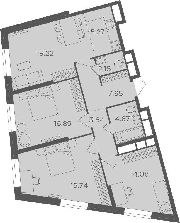 4Е-к.кв, 93.64 м², от 23 этажа
