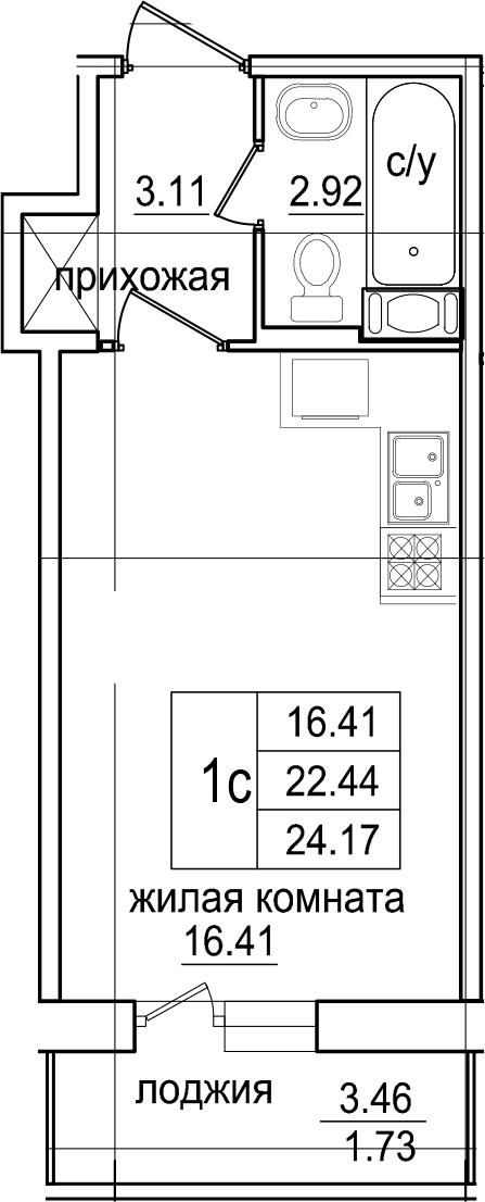 Студия, 24.17 м², 7 этаж