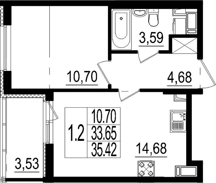 2Е-к.кв, 33.65 м²