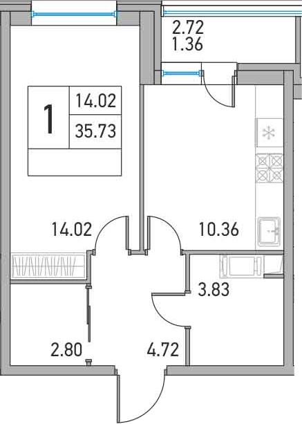1-комнатная, 35.73 м²– 2
