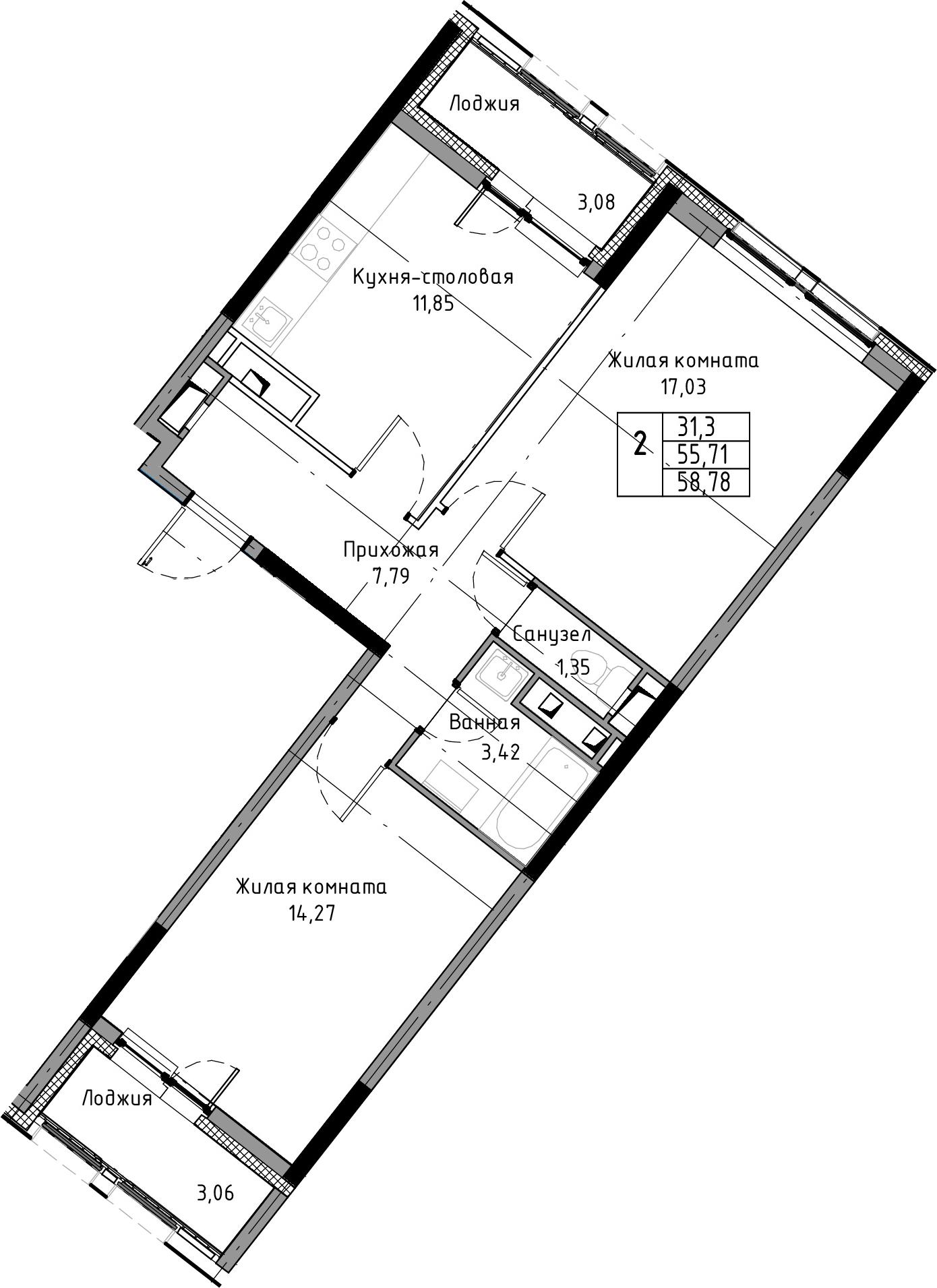 2-к.кв, 58.78 м², 3 этаж