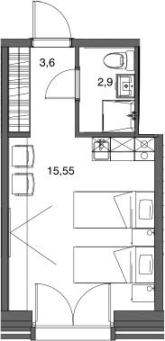 Студия, 22.05 м²– 2