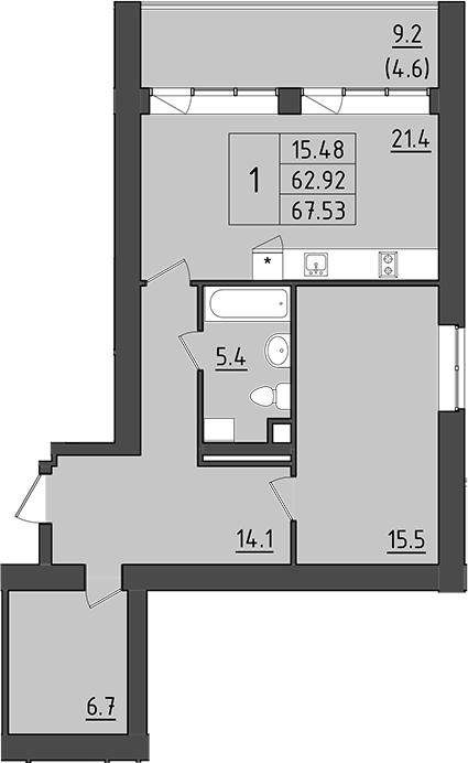 2Е-комнатная, 72.12 м²– 2