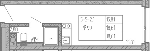 Студия, 18.61 м²– 2