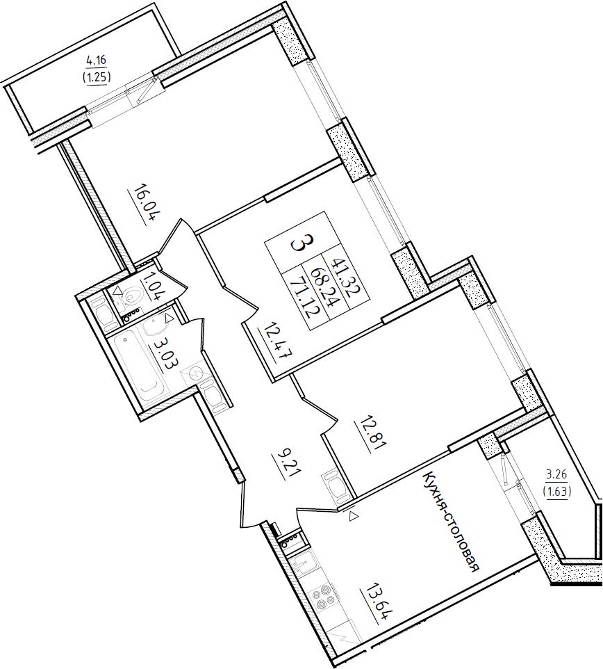 3-к.кв, 71.12 м²