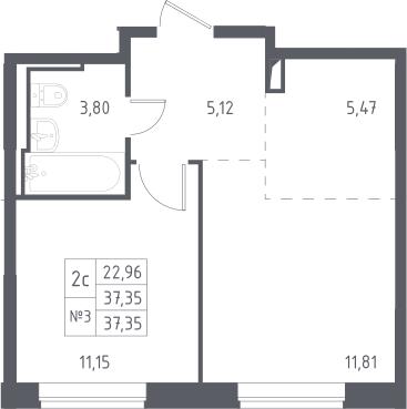2Е-к.кв, 37.35 м²