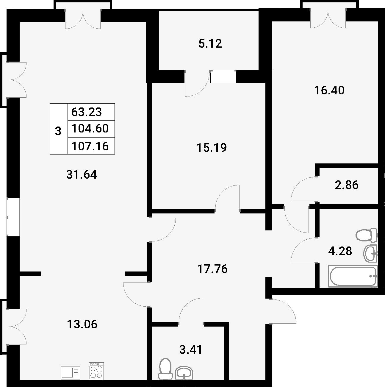 3-к.кв, 107.16 м², 3 этаж