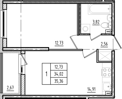 2Е-к.кв, 34.02 м², 1 этаж