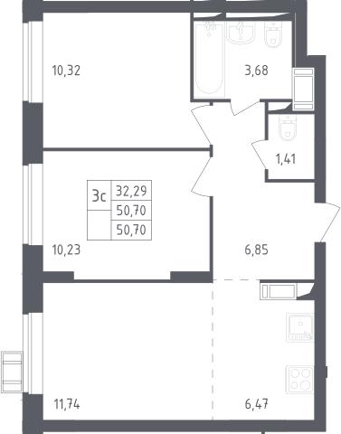 3Е-комнатная, 50.7 м²– 2