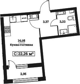 Студия, 22.26 м²