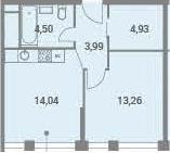 1-к.кв, 40.72 м²