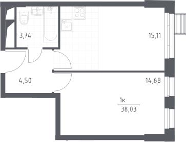2Е-комнатная, 38.03 м²– 2