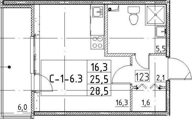 Студия, 28.5 м², 2 этаж – Планировка