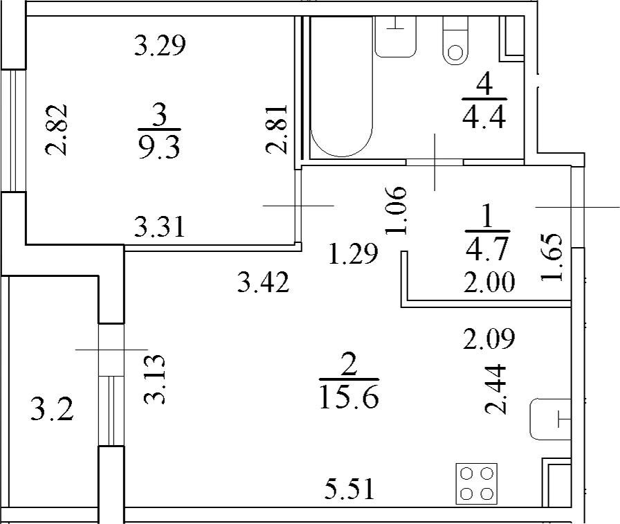 2Е-к.кв, 35.6 м², 2 этаж