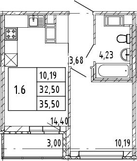 2Е-к.кв, 32.5 м², от 8 этажа