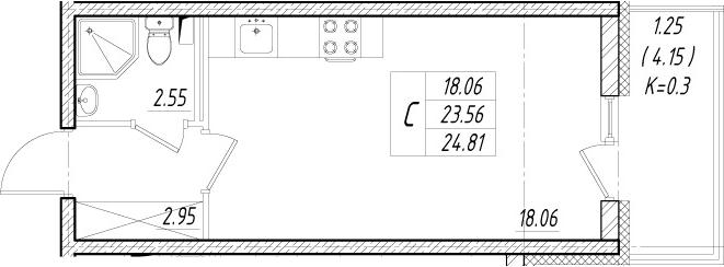 Студия, 27.71 м²