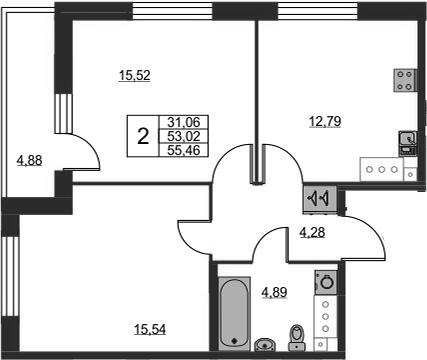 2-к.кв, 53.02 м²