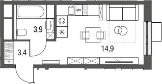 Студия, 22.2 м²