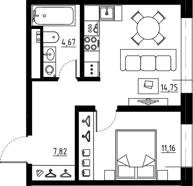 1-комнатная, 38.4 м²– 2