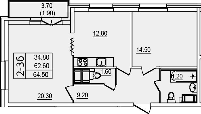2-к.кв, 64.5 м²
