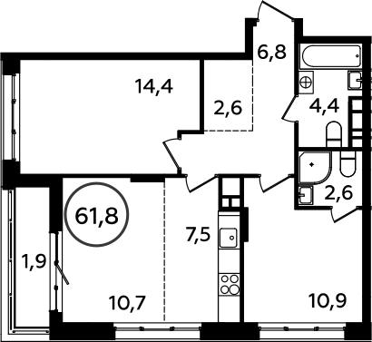 3Е-комнатная, 61.8 м²– 2