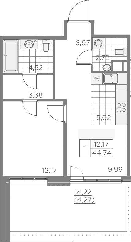 2Е-к.кв, 49.01 м², 2 этаж