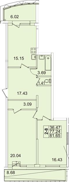 2-к.кв, 91.94 м²