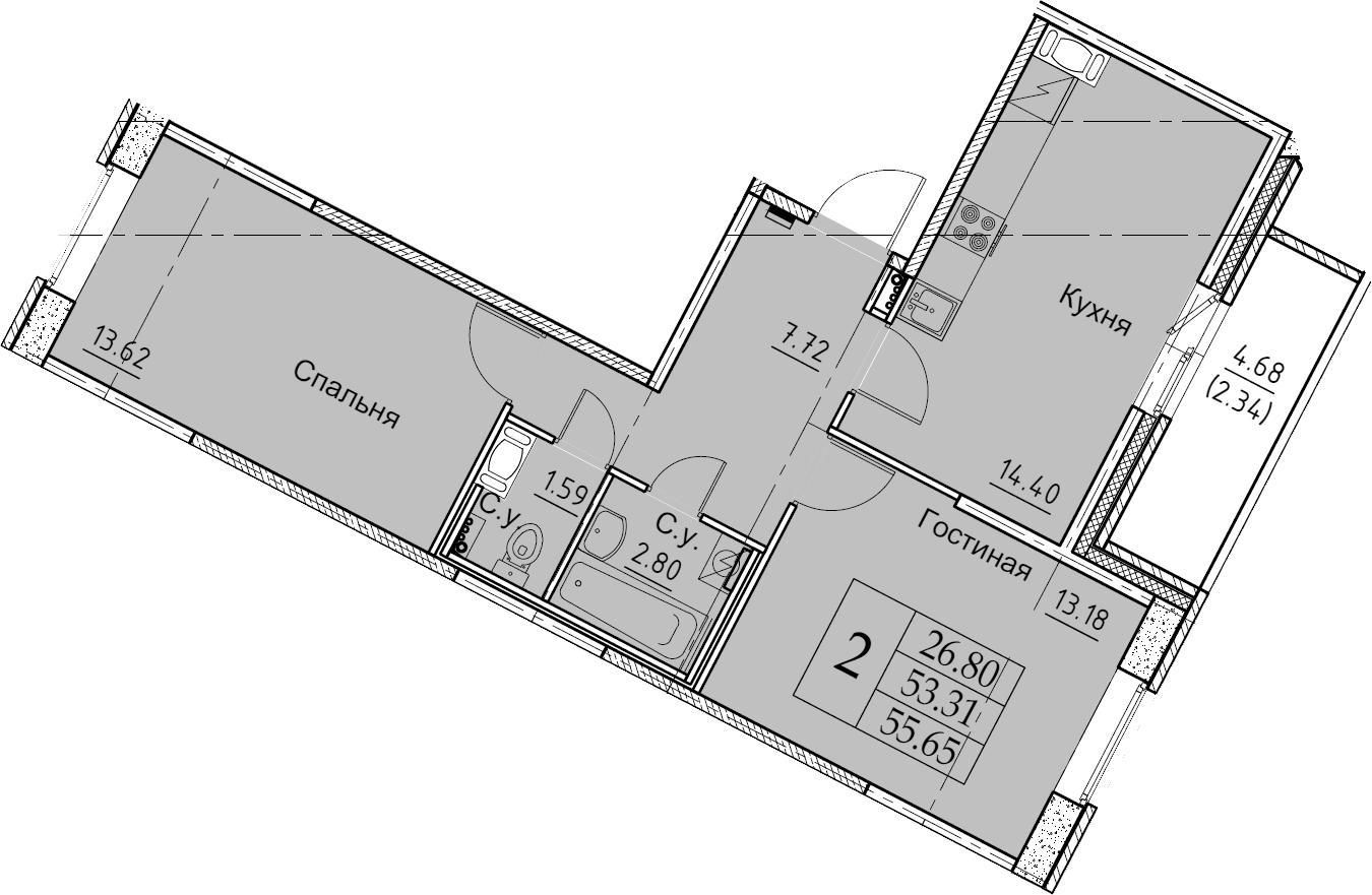 2-к.кв, 55.65 м², 10 этаж