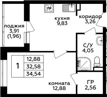 1-комнатная, 34.54 м²– 2