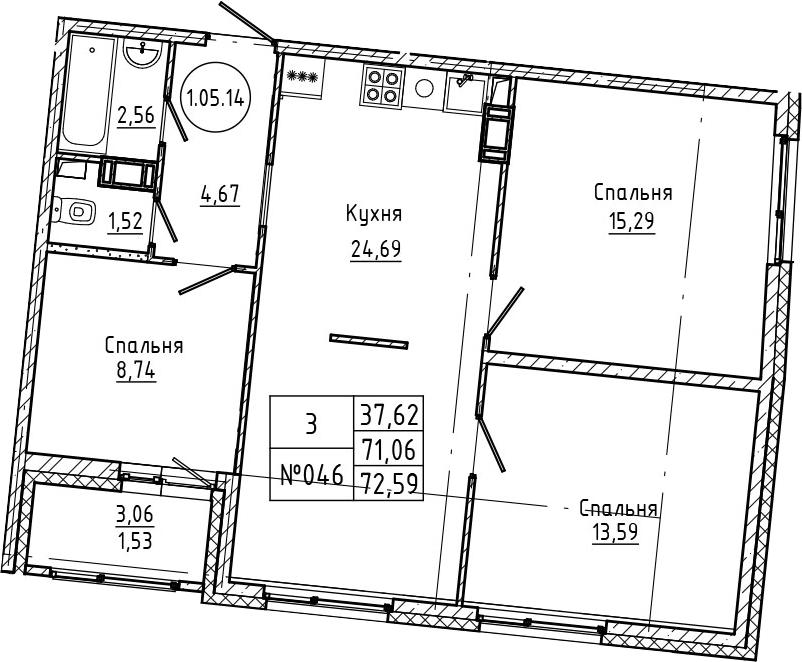 4Е-к.кв, 72.59 м², 5 этаж