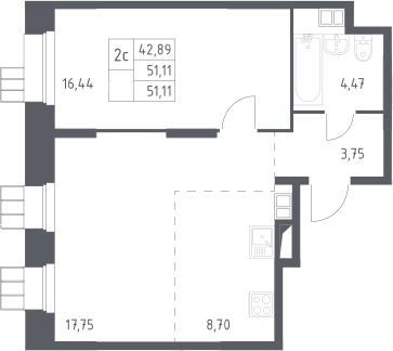 2Е-к.кв, 51.11 м²