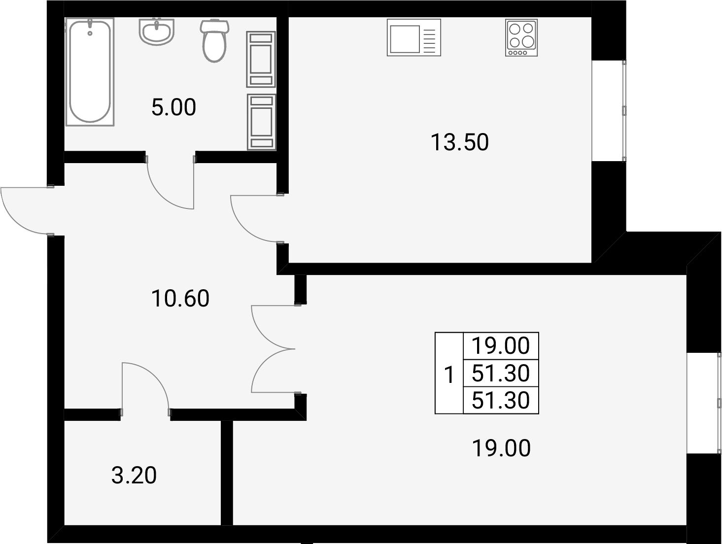 1-к.кв, 51.3 м²