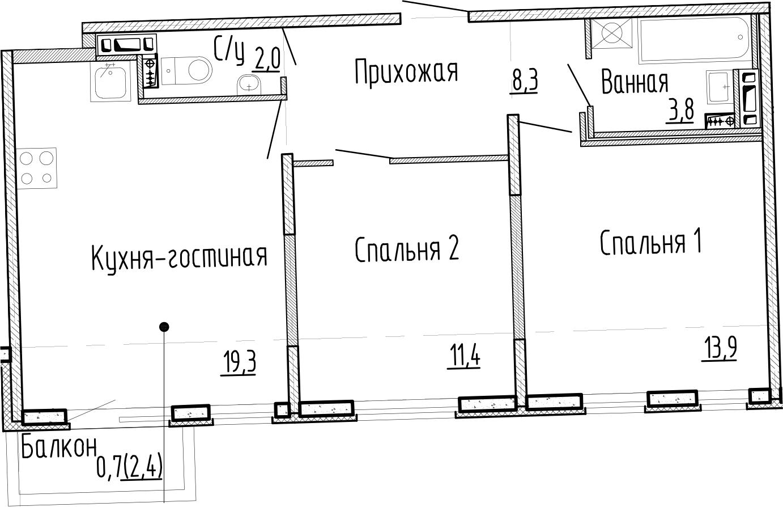 3Е-комнатная, 58.7 м²– 2