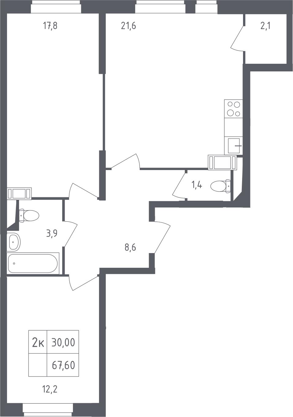 3Е-комнатная, 67.6 м²– 2