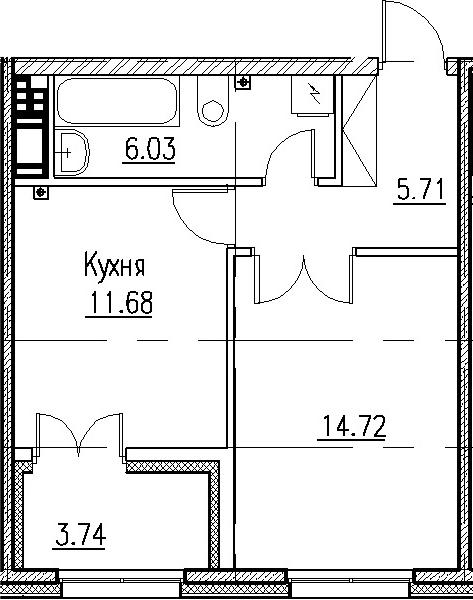 1-к.кв, 41.88 м²