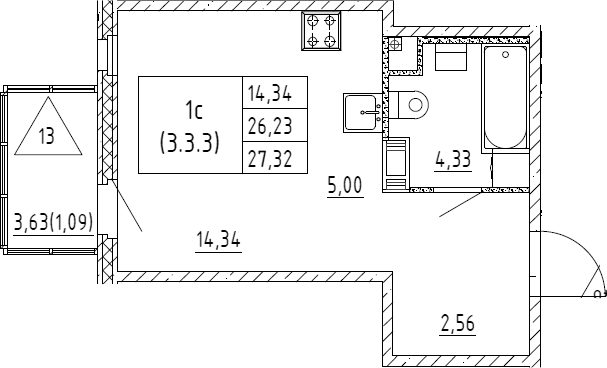 Студия, 27.32 м²