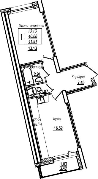 2Е-комнатная, 41.91 м²– 2