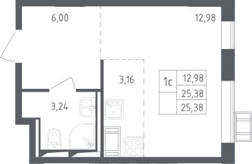 Студия, 25.38 м², 14 этаж
