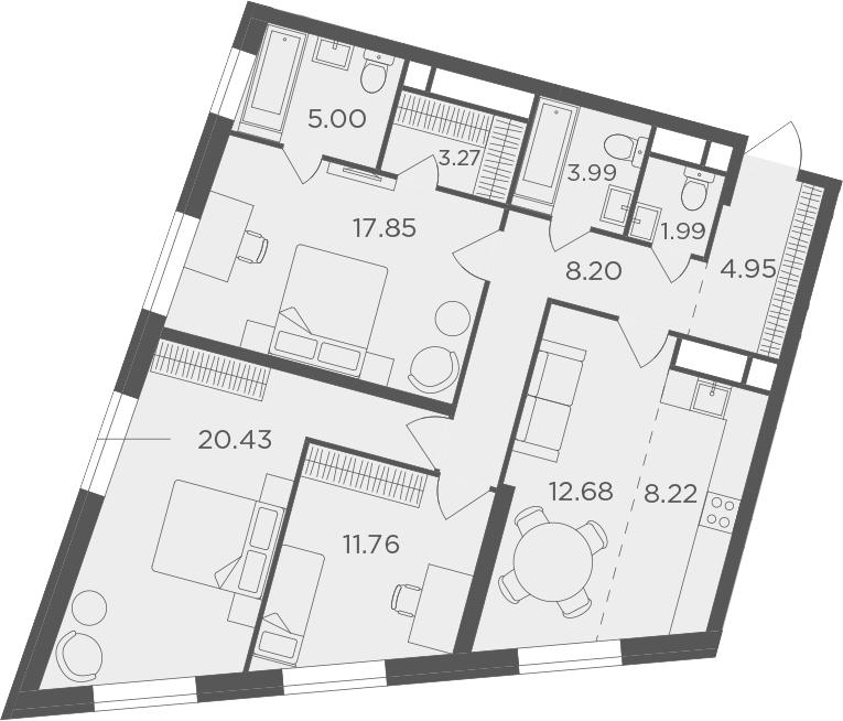 4Е-комнатная, 98.34 м²– 2