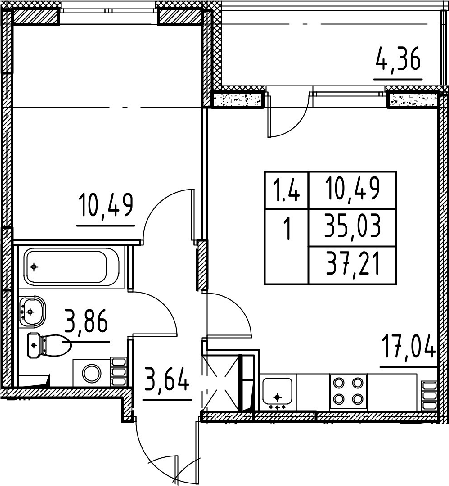 2Е-к.кв, 35.03 м²