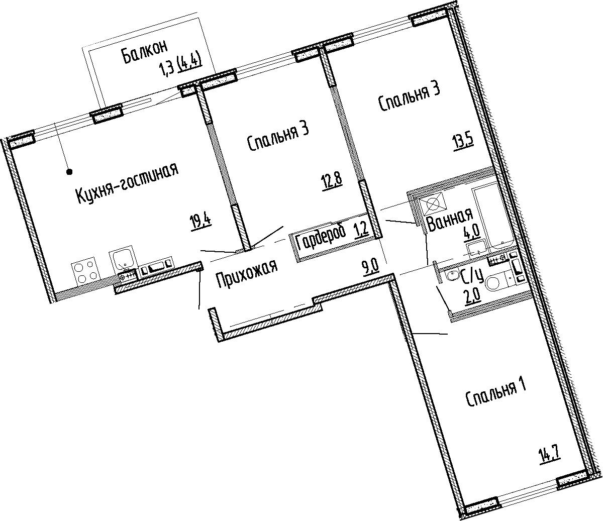 4Е-комнатная квартира, 76.6 м², 4 этаж – Планировка