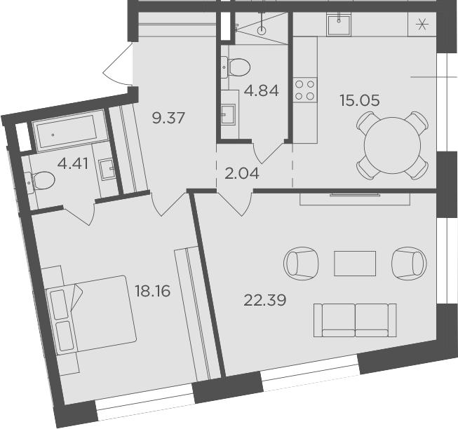 2-комнатная, 76.26 м²– 2