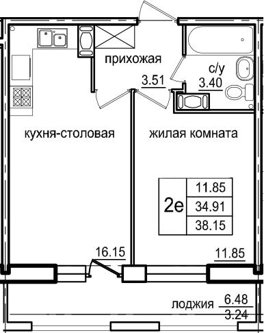 2Е-к.кв, 38.15 м², 6 этаж
