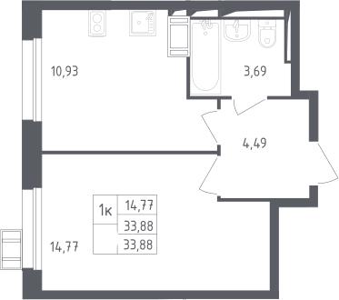 1-к.кв, 33.88 м²