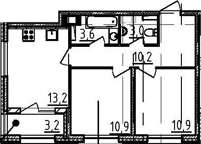 2-к.кв, 53.4 м²