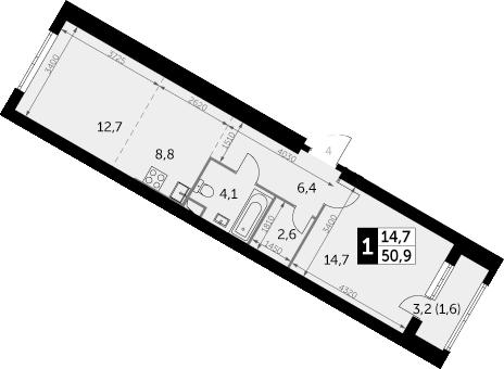 1-к.кв, 50.9 м², 15 этаж