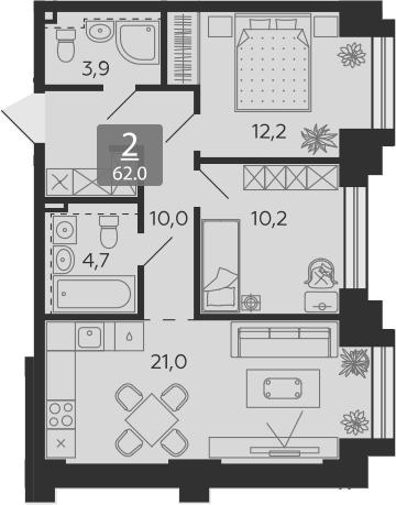 3Е-комнатная, 62 м²– 2
