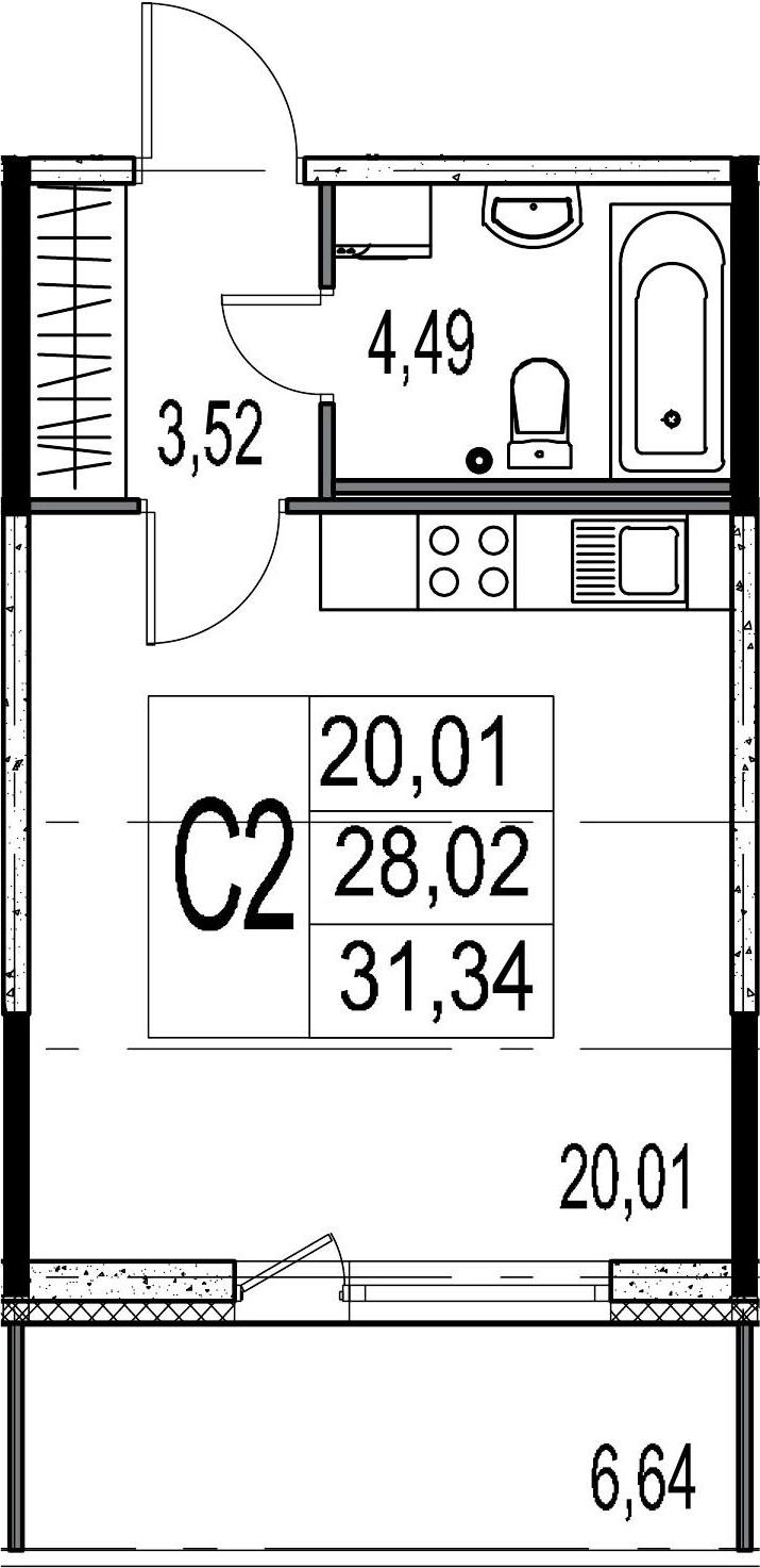 Студия, 28.02 м², 2 этаж