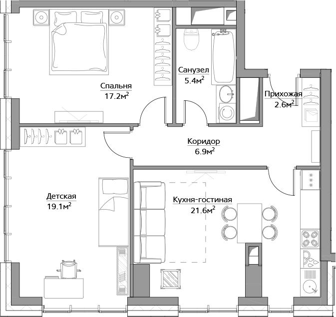 3Е-комнатная, 72.8 м²– 2