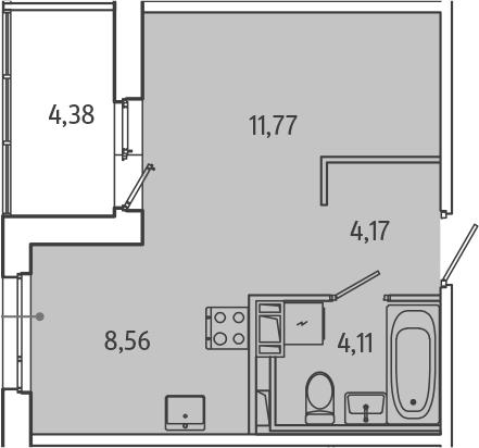 Студия, 30.8 м², от 3 этажа